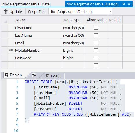 define user registration table attributes