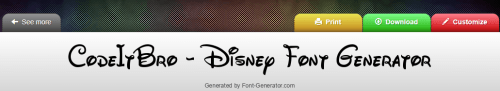 Generated disney font by font generator