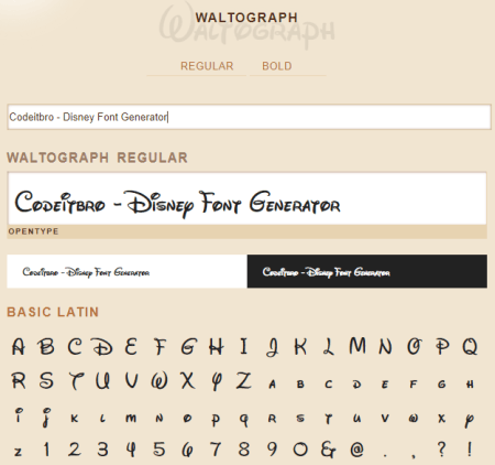 fontlibrary - disney text generator