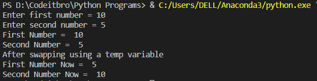 python program to swap two numbers using third variable