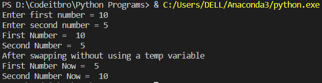python program to swap two numbers without using third variable