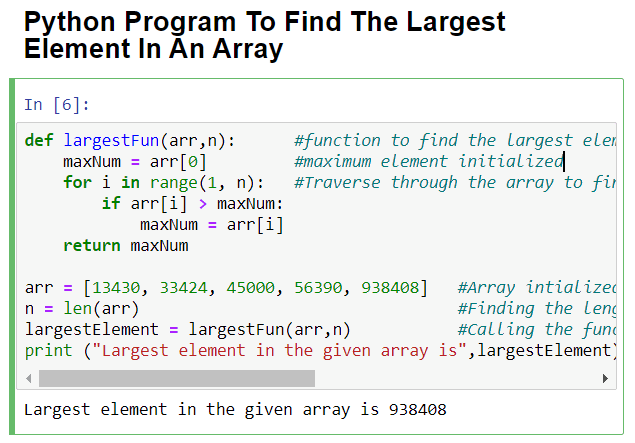 Python Program To Find The Largest Element In Array Using function