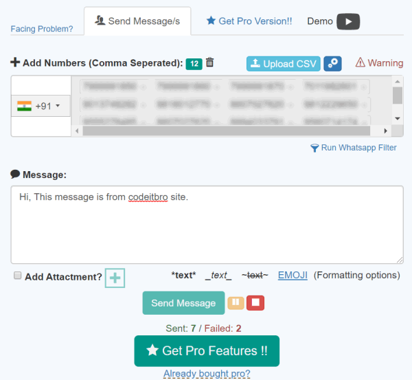 add numbers and specify bulk message