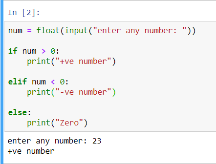 output of python program to check if a number is positive or negative