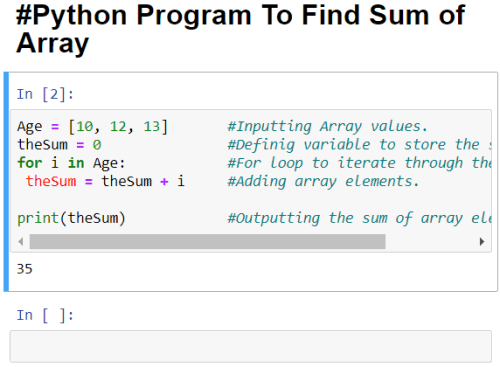 output of python program to find sum of array