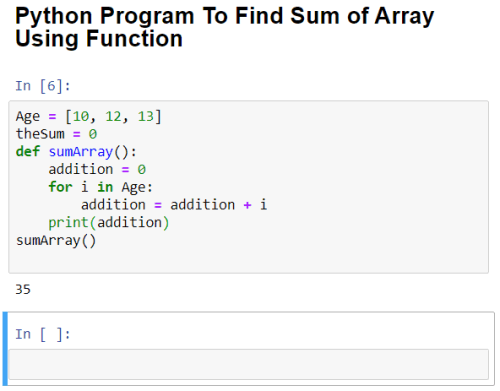 python program to find sum of array with function