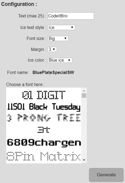 picture to people - frozen font generator