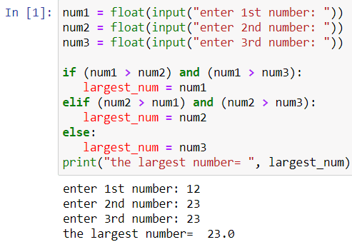 python output - largest among three numbers