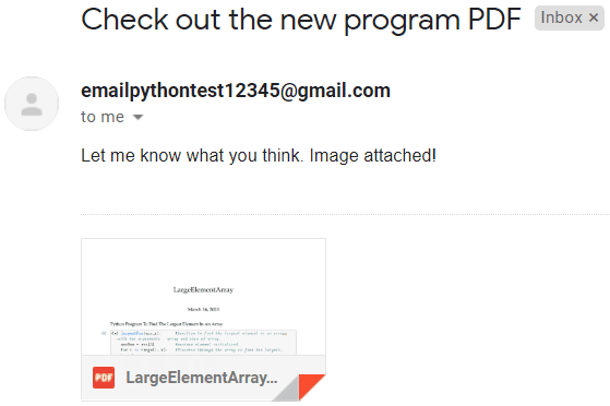 sending pdf email attachments using python