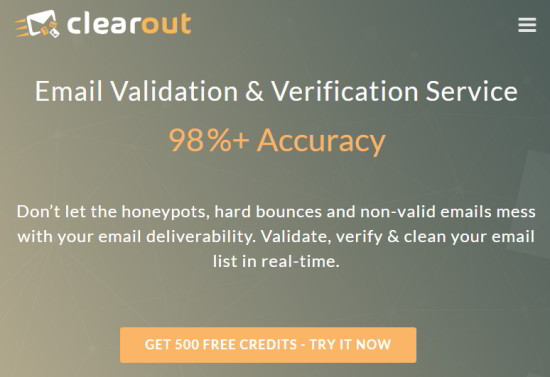 email validation service - clearout