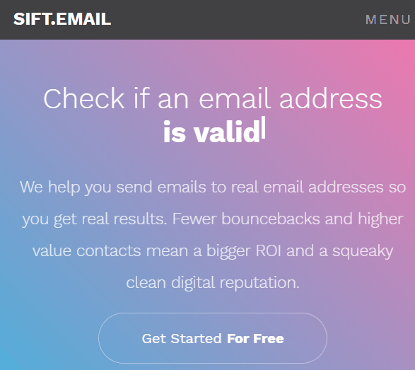 sift email - email validation