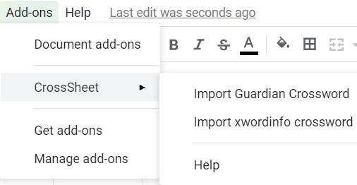 import guardian crossword in google sheets