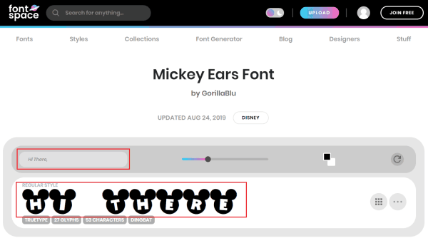 fontspace - mickey mouse font generator