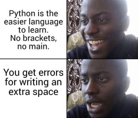 funny python programming meme 8 - python is easier to learn