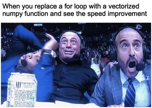 python meme 1 - replace for loop with numpy function