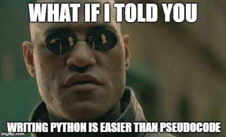 python meme 18 - write code is easier than psuedocode