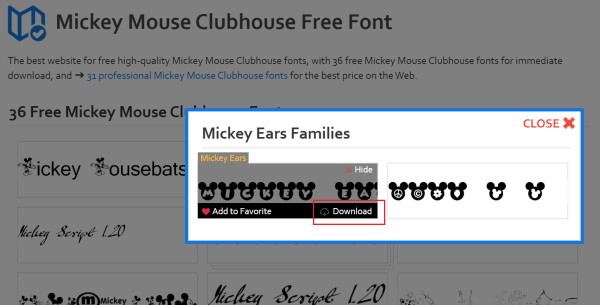 step 2 - mickey mouse font variants