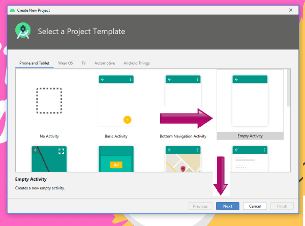 select a project template
