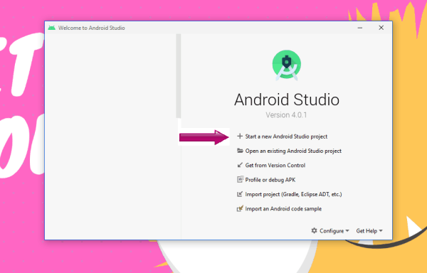step 1 - create a new android studio project