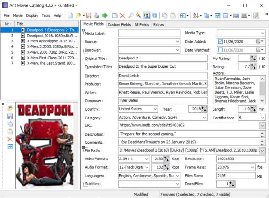 ant movie catalog - free movie manager software