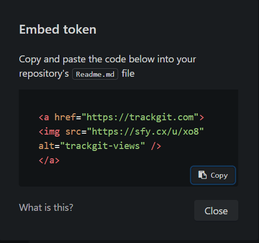 embed trackgit token in github repo