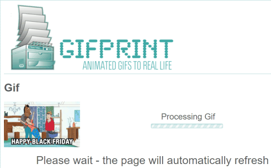 gifprint processing gif to convert to a flipbook