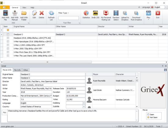 grieex - free movie organizer software