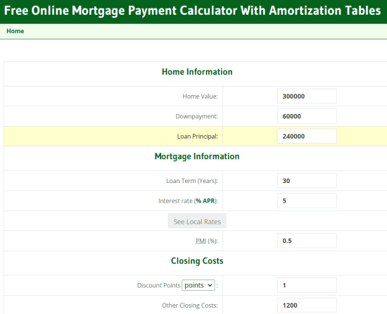 free online mortgage payment calculator
