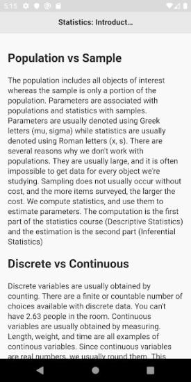 basic statistics - android app