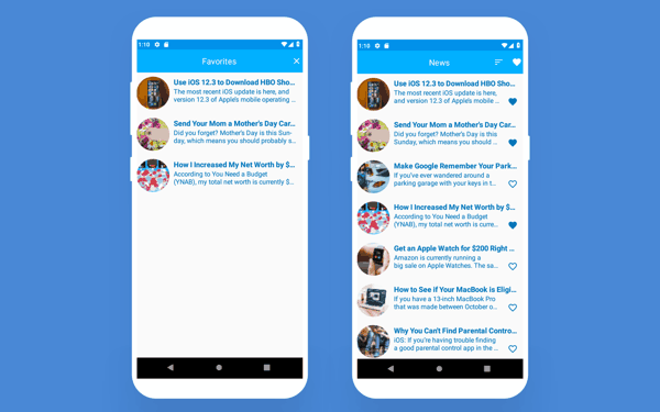 ui fragments of android app